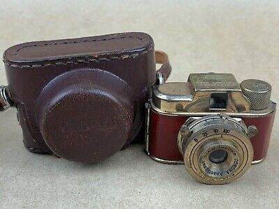 CORONA KSK gold finish, red covering Hit Type Vintage Subminiature Camera - Rare