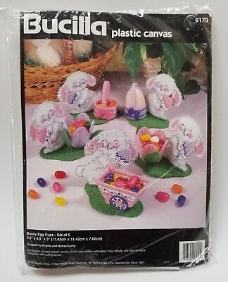 Bucilla Easter Bunny Egg Cups  # 6179  Plastic Canvas Kit Set Of 5  New/Open