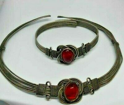 Extremely ancient viking silver torc bracelet very stunning lot of 2 pieces