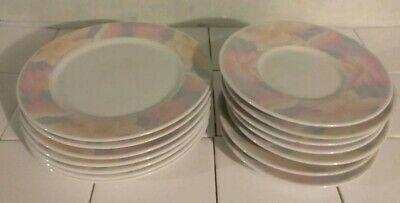 14pc lot SARA by China Pearl Soucer Salad Diner Plates 9030 -1990 Floral Pink