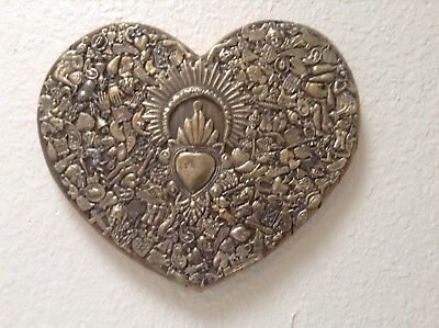 """10 1/2"""" vintage weathered wood, patina on brass Milagros, hand made In The U S A"""