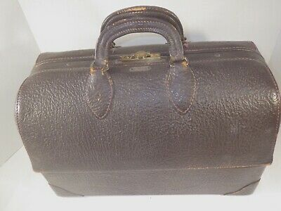 1940s DOCTOR BAG EMDEE BY SCHELL BROWN LEATHER FULL OF SUPPLIES & EQUIPMENT