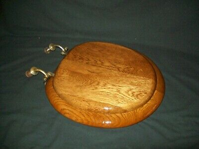 Antique oak wood toilet seat cover with lid original brass hardware