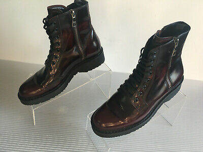 b37ce3f1f92 PRADA 3T5881 WOMENS Burgundy double zipped ankle boots Size 36 US 6