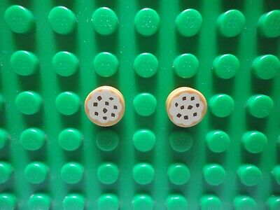 New LEGO Lot of 2 Medium Dark Flesh 1x1 Round Frosted Cookie Food Tile Pieces