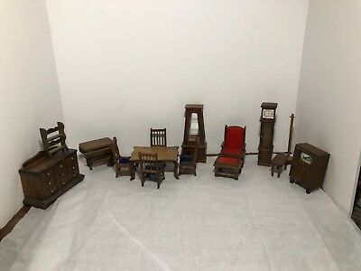 Doll House Furniture Lot of Vintage Various Items Table w chairs tv clock bureau