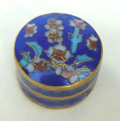 Vintage Chinese Cloisonne Small Pill Box Blue w/ Flowers