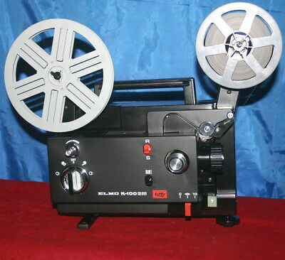 SUPER 8 and STANDARD 8mm ELMO K-100SM  DUAL 8mm SILENT MOVIE PROJECTOR 100w Lamp