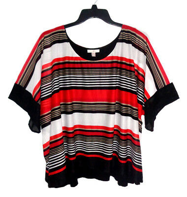 Roz & Ali, Black, White Red Striped Sheer Top, Attached Camisole Lining, size 3X