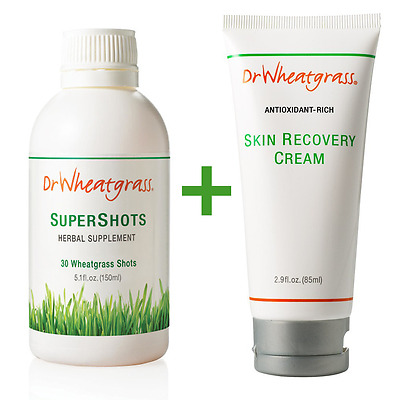 A Set of Dr Wheatgrass Supershots & Antioxidant Recovery Cream