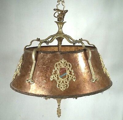 Antique Mission Arts+Crafts Mica Shade 5 Light Brass Hanging Chandelier