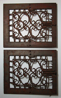 2 Antique I R & M Co. VENT COVERS iron marked ornate early register free US ship