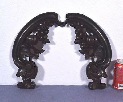 *Pair of French Antique Carved Mahogany Wood Brackets/Sculptures with Grapes