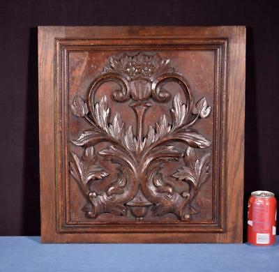 *Antique French Highly Carved Panel in Oak Wood Salvage