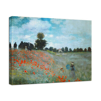 Canvas Wall Art Print Monet Painting Repro Picture Home Room Decor Poppy Field