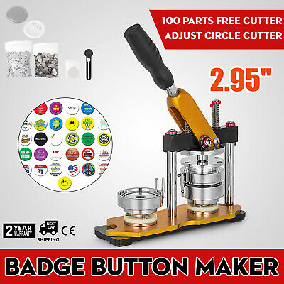 "75mm(3"") Button Maker Rotate Machine 100Pcs Clothes Bottle Openers Badge AU"