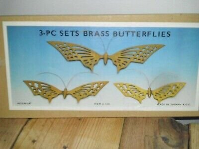 "Vintage Brass Butterflies Metal Wall Art Or Table Decor NOS 15"" 10"" 8"" FREE SHIP"