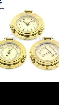 Weather Station For Marine Use. Beautiful Set Of Three In  Brass Finish Alloy