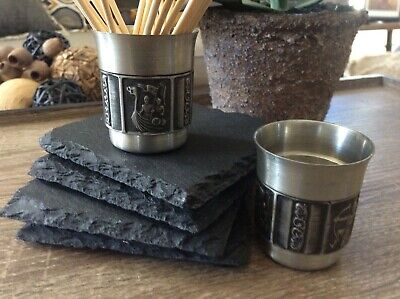 2 Vintage Konge Tinn Royal Norway Pewter -Small Cup/tea Light /vodka/liquors