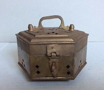 Vintage Rusted Hexagon Footed Brass Incense Burner Pierced Potpourri Box India