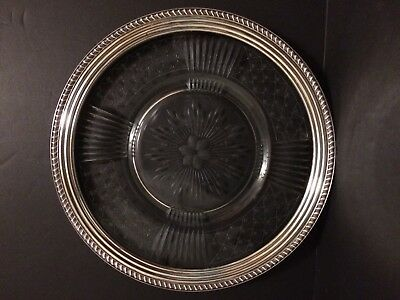 "Crystal Plate with Sterling Silver Rim - 14"" diameter"