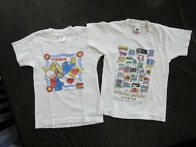 Vintage 90s Fruit of the Loom T-Shirt White Boy's Kid's 6-8 Smithsoniam & Toolo