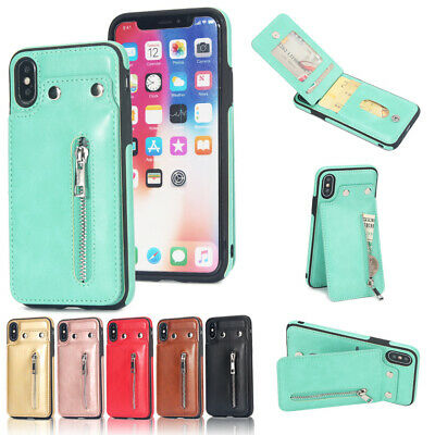For Lot iPhone Fashion Zipper Buttons Shockproof Magnetic PU Leather Phone Case