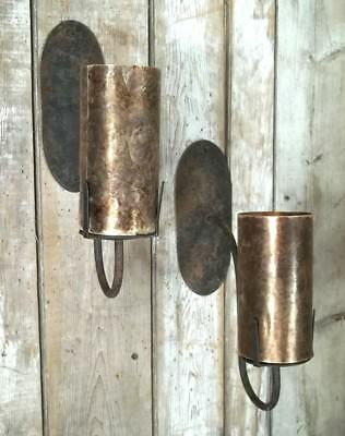 PAIR OF EARLY 20th CENTURY ARTS+CRAFTS WROUGHT IRON SCONCES WITH MICA SHADES