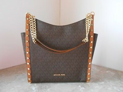 4fa8bf98ba9dc1 New MICHAEL KORS Newbury Medium Chain Stud Shoulder Bag MK Signature $368  BROWN