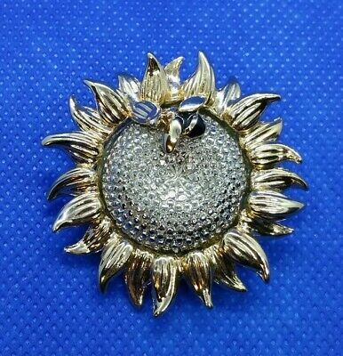 ed86957c1 Vintage signed LC Liz Claiborne Gold/Silver-Tone Honey Bee on Sunflower  Brooch