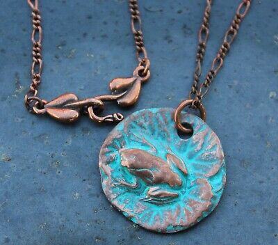 Ancient Frog & Lily Pad Necklace- handmade antiqued copper pendant, figaro chain