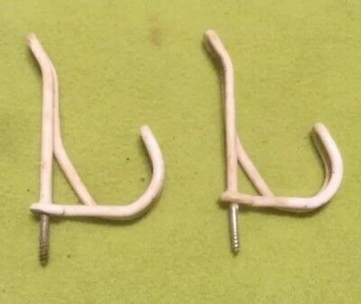 VTG ~ WIRE HOOK ~ Rubber Coated ~ Screw-in ~ Hat Coat Closet ~ Lot Of 2