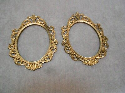 PAIR of VINTAGE ROCOCO Gilded metal Oval WALL FRAMES