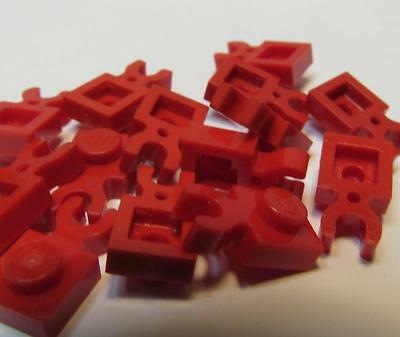 LEGO PART 4085 RED PLATE MODIFIED 1 X 1 WITH CLIP VERTICAL X11 PIECES