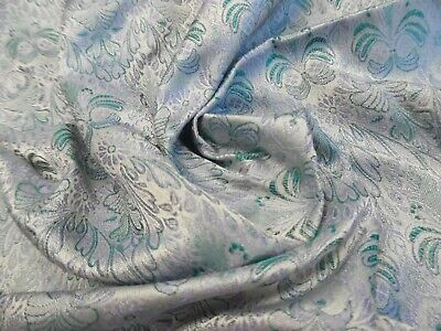 "SMALL JACQUARD PRINT SILK BROCADE~9""x22""~LAVENDER/AQUA~DOLL  FABRIC"