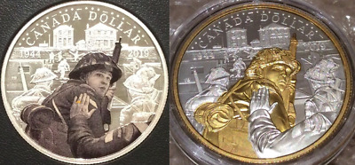 1944-2019 D-Day 75th Anniversary Proof Pure Silver Dollar $1 Canada 2-Coins Duo