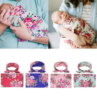 Newborn Baby Floral Swaddle Wrap Swaddling Sleeping Bag Blanket Headband Set Hot