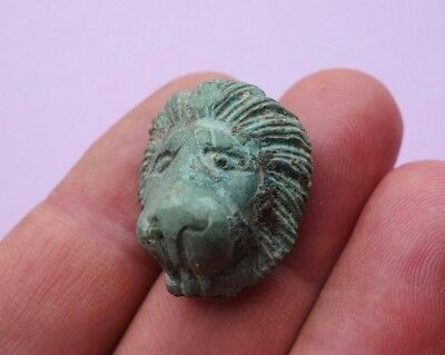 ancient Roman bronze face mask of lion, military mounts decoration