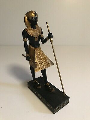 Egyptian Figure Gilded on Base with Hieroglyphics Black & Gold
