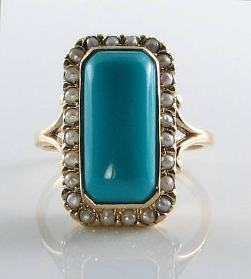 LARGE 9CT 9K GOLD PERSIAN TURQUOISE & PEARL ART DECO INS RING Size R