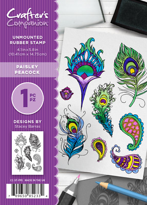 New Crafter's Companion Unmounted Rubber Stamps Paisley Peacock