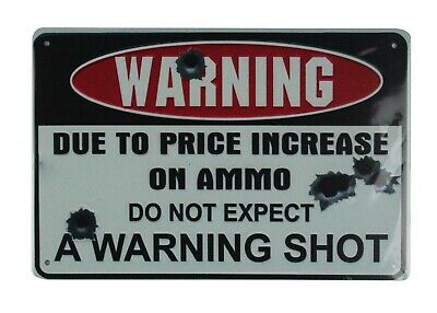 US SELLER, do not expect warning shot tin metal sign residential interior design