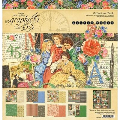 "NEW  Graphic 45 12"" x 12"" Papercrafting Set Little Women"