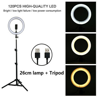 26cm LED Photography Ring Light Dimmable 5500K Lighting kit Photo Video Stand