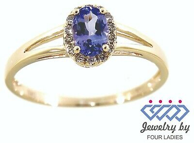 bfb310045fcf5a Tanzanite Birthstone 14K Yellow Gold 0.39CT Natural Halo Diamond Fine Ring