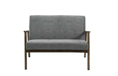 Retro 2 Seater Sofa Charcoal Danish Loveseat Mid Century Modern Fabric Settee