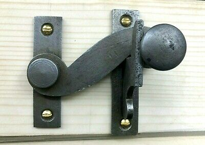 Vintage iron Sash Window Catch Lock Latch Antique Old Ball Handle Brass Screws