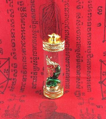 Takrut Naga Pendant  Thai Amulet Buddha Wealthy RICH Good luck CHARM GOLD Casing