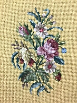 Vintage Completed Floral Point Needlepoint Chair Seat Pillow Cover Artwork