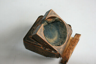 Antique Wooden Decorated Carved Pocket Watch Case Box